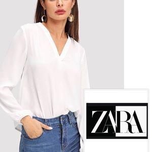 Zara Basics White V Neck Blouse